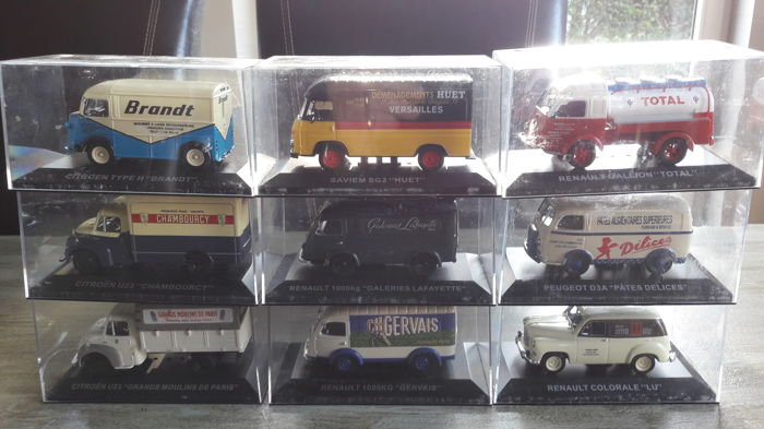 Hachette - Scale 1/43 - Lot with 9 Trucks and vans