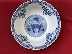 Large blue & white crabs and carps bowl - China - 19th century