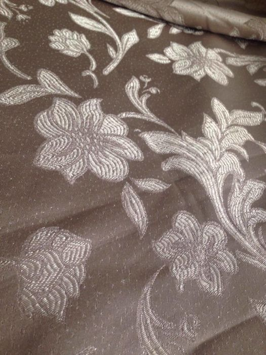 5.60 m of an bright damask fabric, pearl grey coloured and trimmed with silver thread