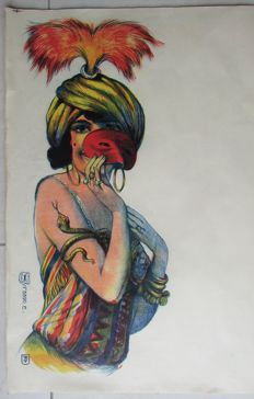 JT - Art Deco ' Gypsy woman' Original Lithograph