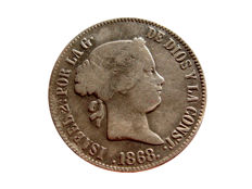 Spain - Isabel II (1833 - 1868) 50 Cents of a peso in silver of 1868 - Manila
