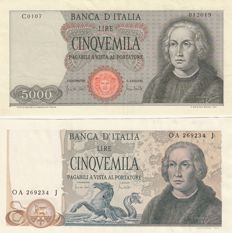 Italy - 2 x 5,000 lire Columbus - 1st and 2nd type - 1970 and 1973 - GIGANTE BI 66C and BI 67B