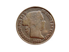 Spain - Isabel II (1833–1868) - 40 cents in silver - 1866 - Madrid