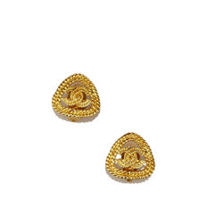 Chanel - Gold-Tone CC Clip-On Earrings