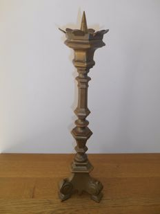Bronze Gothic church candlestick from ca. 1900