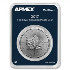 Canada - 5 CAD - 1 oz 999 silver coin - maple leaf 2017 - MintDirect Single - certified quality