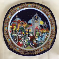 Bjorn Wiinblad  for Rosenthal - Christmas decorative porcelain plate, Limited edition and signed, with text Wilhelm Kritzinger