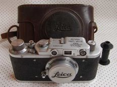 FED Leica II D regular D.R.P. copy chrome in leather case