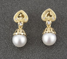 18 kt yellow gold earrings with heart motifs - Brilliant cut diamonds - South Sea (Australian) pearls