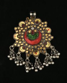 Antique silver pendant with coloured glasses – Himachal Pradesh, early 20th century