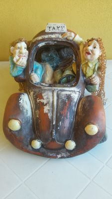 Volkswagen Beetle - taxi car - money box - vintage - in terracotta and ceramics - car bottom of another material
