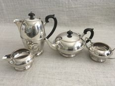 Ornate vintage silver plated four - piece hand engraved patterns Tea set . ENGALAN  ca - 1930