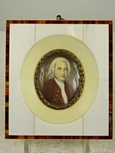 A miniature portrait painting on ivory depicting Johan Sebastian Bach-early 20th century