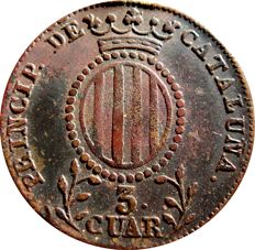Spain - Isabel II (1833–1848), 3 quarters in copper (7.19 g, 26 mm) - 1841 - Principality of Catalonia