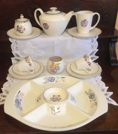 Collection of Poole pottery England - teapot, tea cups, plates - 13x
