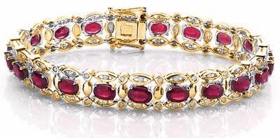 14KT Yellow Gold  With - Diamonds  0.7ct and Ruby  Total Length : 9 inches