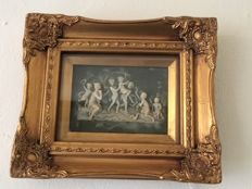 Alabaster woman with six children playing, behind glass painting in gold-coloured Baroque frame, second half 20th century