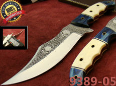 Beautiful Hunting & Fishing Knife Bowie Type Hunter 28,75 CM- Acid Etched Beautiful Designed Blade - Camel Bone & Blue Pakkawood Handle - Hand Stitched Leather Sheath(9389-5