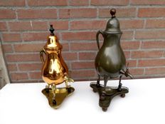 Two Vintage tap jugs, of Engelen tin, bronze colour, and aluminium, red/yellow copper colour