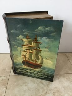 Wooden ship's chest shaped like a book