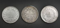 France - 5 francs 1845-A, 1852-A & 1873-K (lot of 3 coins) - silver