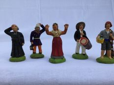 Five beautiful authentic Provencal Santons figurines _ Nativity scene figurines__CARBONEL