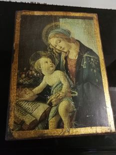 Antique icon of a Madonna with child on large-sized wooden board (35 x 25 x 4 cm)