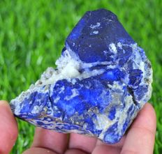 Royal Blue Lazurite Crystals with Pyrite on Calcite Specimen - 75 x 58 x 40mm - 225 gm