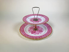 Spode - Porcelain Cake-stand with Sterling Silver structure