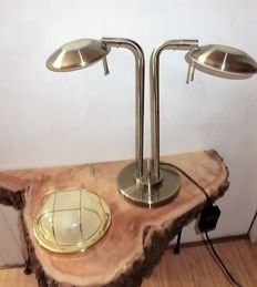 lot of 2 brass lamps, one with a signature