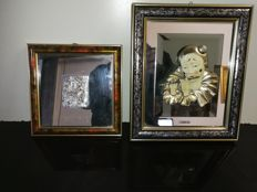 "Two large silver pictures ""pierrot"" and ""sposa di campagna"" - silver with fine wood frame - 20th century - Italy"