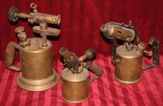 3 old brass burners
