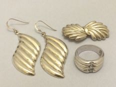 925 silver earrings, brooch and ring - ring size 20.5 mm