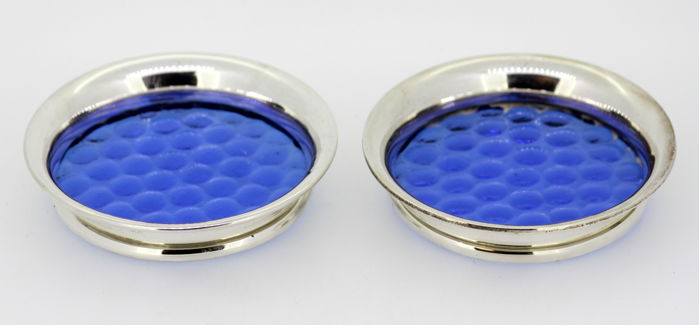 Pair of vintage small glass and sterling silver cup/wine coasters - Barker Ellis Silver Co & Henry Clifford Davis - Birmingham - 1962 & 1965