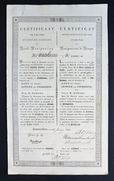 Russia / the Netherlands - Certificate Russian Funds - Bond 1000 roubles 1828