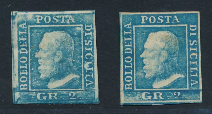 Sicilia 1859 - two stamps of 2 grana, I and III plate - Sass. NN. 6, 8