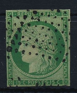 France 1849 - 15 centimes yellow green 2a with photo certificate Eichele