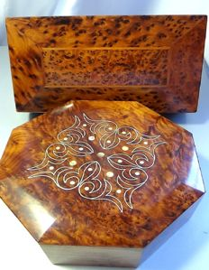 Fine mahogany boxes carved and polished with mother of Pearl inclusions (2)