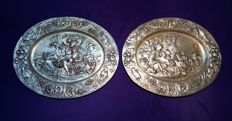 Pair of silver-coloured copper trays.  19th century
