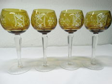 4 Bohemian crystal wine glasses