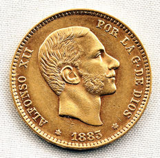 Spain - Alfonso XII - 25 Pesetas in Gold - 1883*18-83 - Madrid