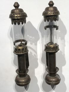Pair of copper VDP railway wagon candlesticks - early 20th century