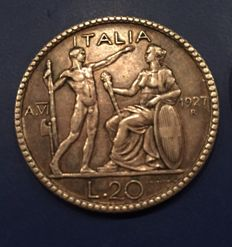 """Kingdom of Italy – 20 Lire """"Lictor"""" 1927 and 1928 Vittorio Emanuele III (2 coins) – Silver"""