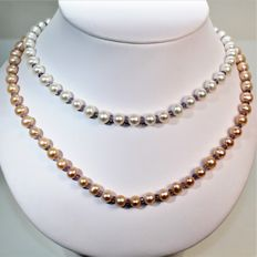 90 cm sautoir necklace of RD two-tone natural freshwater pearls, Ø 7.5 x 8 mm & Tanzanites