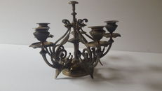 Five light colonial brass candelabra centerpiece - in candle holders - circa 1900 - India