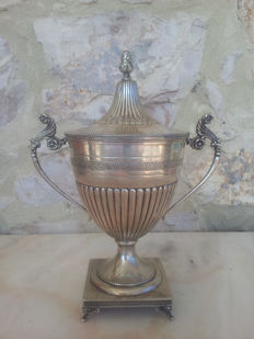 Large solid silver sugar bowl