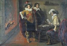 L Lorin (19th century) - Three cavaliers in an interior.