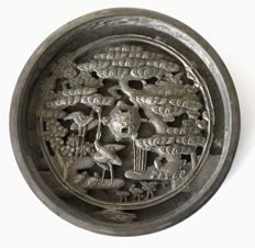 Bronze hand mirror, Kagami, with Kanji characters - Japan - 19th century
