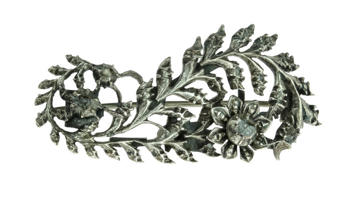 Silver, antique, vintage brooch, fully set with rose diamonds