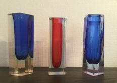 Murano - 3 vintage Sommerso-cut vases